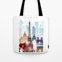 Paris city skyline, France Tote Bag