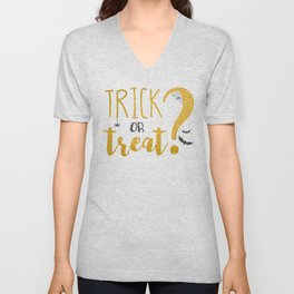 Trick Or Treat? | Glitter Unisex V-Neck