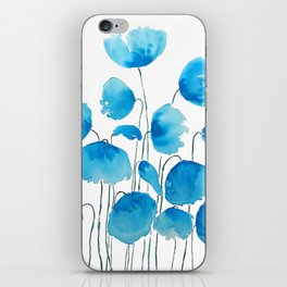 blue poppy field watercolor iPhone Skin