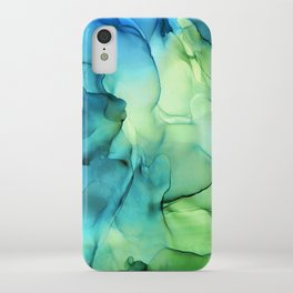 Blue Green Spring Marble Abstract Ink Painting iPhone Case
