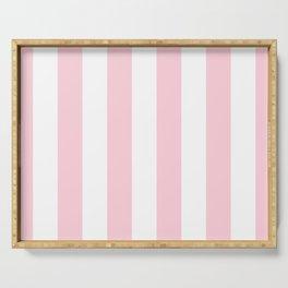 Light Soft Pastel Pink Beach Hut Stripes Serving Tray