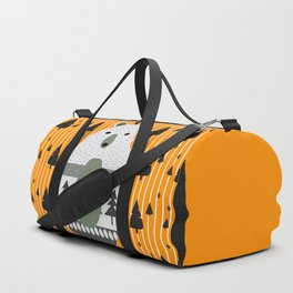 Cute bear, stripes and a fir forest Duffle Bag