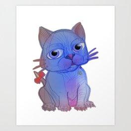 My Purple Vanda Cat Pet Art Print