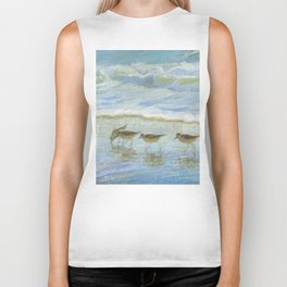 Sandpipers, A Day at the Beach Biker Tank