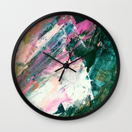 Meditate [5]: a vibrant, colorful abstract piece in bright green, teal, pink, orange, and white Wall Clock