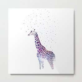 Hollow-Albino Giraffe in space Metal Print