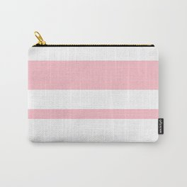 Mixed Horizontal Stripes - White and Pink Carry-All Pouch