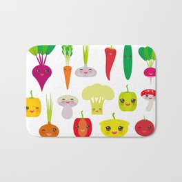 Kawaii vegetables peppers, pumpkin beets carrots, eggplant, red hot peppers, cauliflower, broccoli Bath Mat