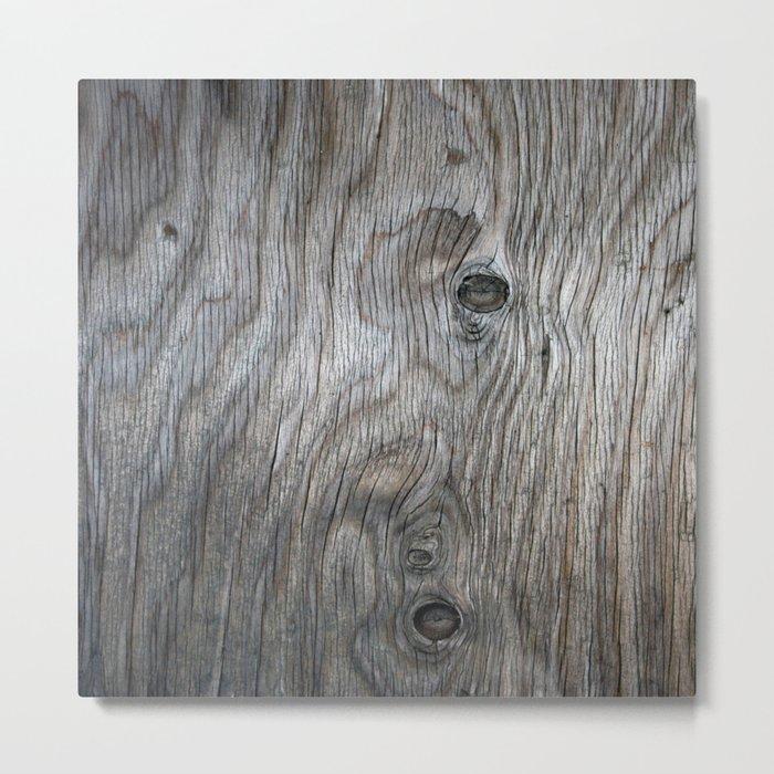 Real Aged Silver Wood Metal Print