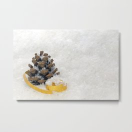 Fir Cones in Snow With Gold Ribbon Metal Print