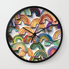 Watercolor Rainbow Stickers Wall Clock