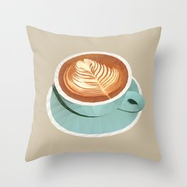 Coffee with Latte Art Polygon Art Throw Pillow