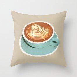 Coffee with Latte Art Polygon Art Throw Pillow