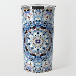 Blue Brown Folklore Texture Mandala Travel Mug