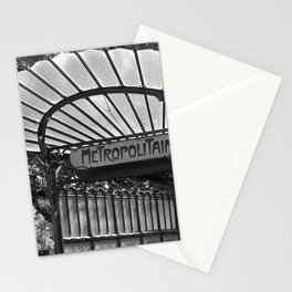 Paris Art Nouveau Metro Subway Entrance Porte Dauphine Libellule black and white photograph Stationery Cards