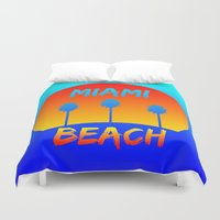 miami Duvet Covers featuring Miami by Chris Hardie