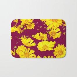 BURGUNDY-YELLOW  FLORAL COREOPSIS  PATTERN ART Bath Mat