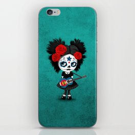 Day of the Dead Girl Playing Colorado Flag Guitar iPhone Skin