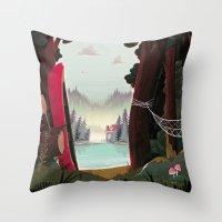 beaver Throw Pillows featuring Camp Beaver by Manuel Kilger