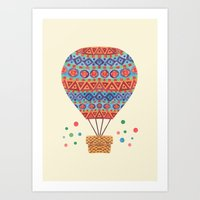 hot air balloon Art Prints featuring Hot Air Balloon by haidishabrina