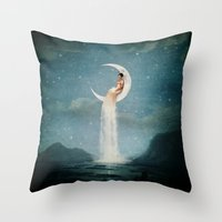 nan lawson Throw Pillows featuring Moon River Lady by Paula Belle Flores