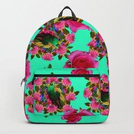 GREEN PEACOCK & PINK ROSE PATTERN ART Backpack