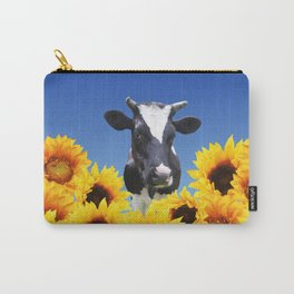 Cow black and white with sunflowers Carry-All Pouch