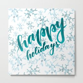 Happy Holidays - teal Metal Print