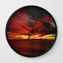 Fiery Sunset Wall Clock