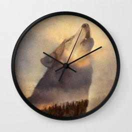 "Howling Wolf Lake Sunset ""Multiple Exposure"" Fine Art Print Wall Clock"
