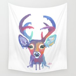 Melting Rainbow Deer Head Wall Tapestry