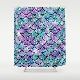 Mermaid Pattern - Aqua & Purple Glitter Texture Shower Curtain