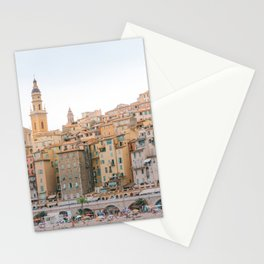 Menton in evening light - Travel photography art in French Riviera, France, Europe | Yellow and sunny landscape Stationery Cards