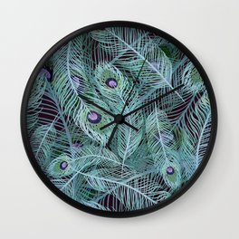 Peacock of Another Color Wall Clock