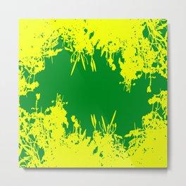 Yellow And Green Grunge Artwork Metal Print