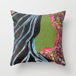 Black Hair Lady Throw Pillow