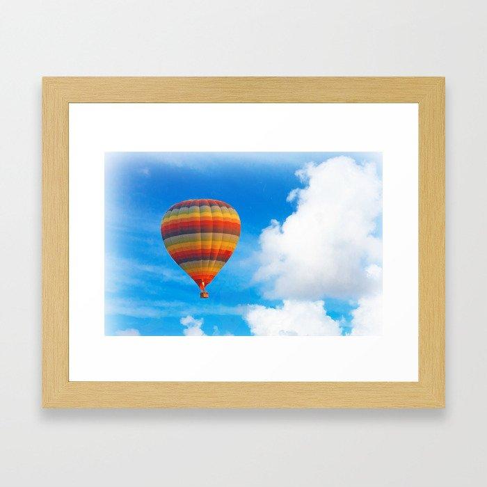 Colorful hot air balloon Framed Art Print