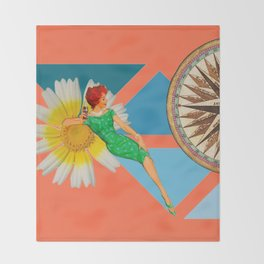 Daisy on the rocks #collage Throw Blanket