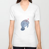manatee V-neck T-shirts featuring Manatee Love by Joumana Medlej