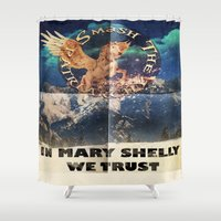 patriarchy Shower Curtains featuring Faux Vintage Feminist Poster by SharkNoises