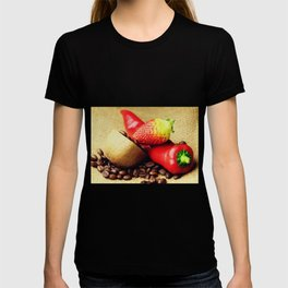 Coffee beans Kivi strawberry pepper T-shirt
