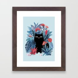Popoki in Blue Framed Art Print