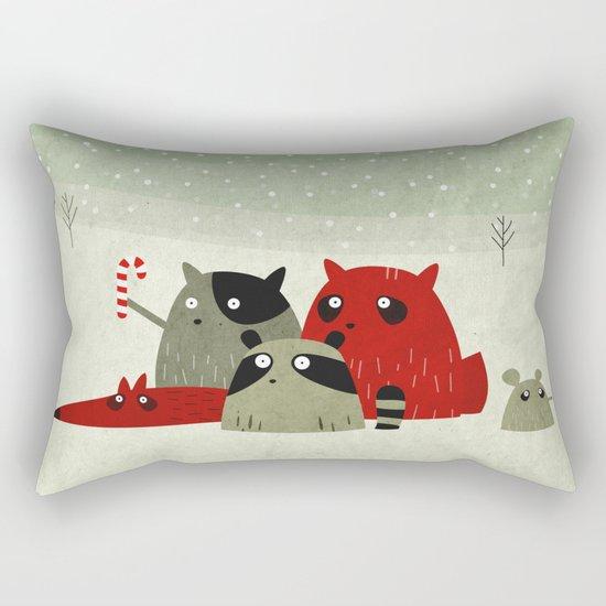 Guilty dudes in the snow Rectangular Pillow