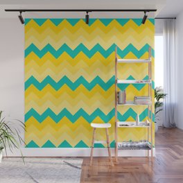 Turquoise and Yellow Chevrons Pattern Wall Mural