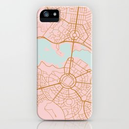 Pink and gld Canberra map iPhone Case