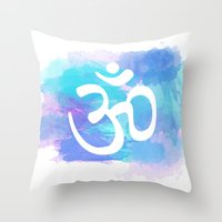 om Throw Pillows featuring Om by Ashley Hillman
