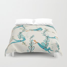 Marine underwater pattern with divers Duvet Cover