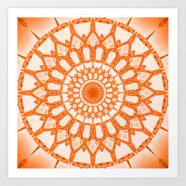 Flower Mandala serie orange Art Print