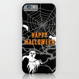 Happy Halloween Monsters with Trees and spider web iPhone Case