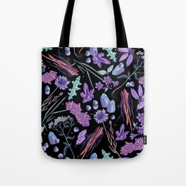 Purple flowers and jewels. Tote Bag
